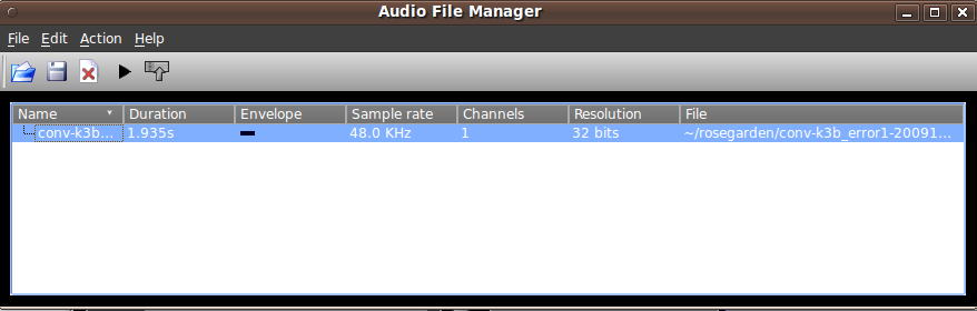 The audio file manager with one file loaded