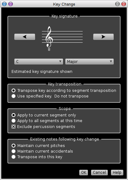 Rosegarden's key signature dialog