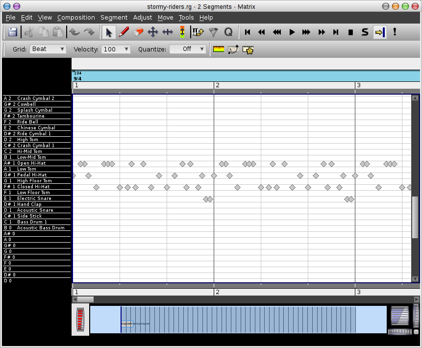 Rosegarden's percussion matrix editor