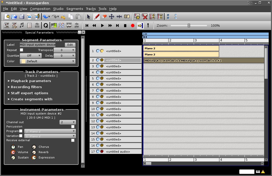 Rosegarden's Track Editor showing three empty segments